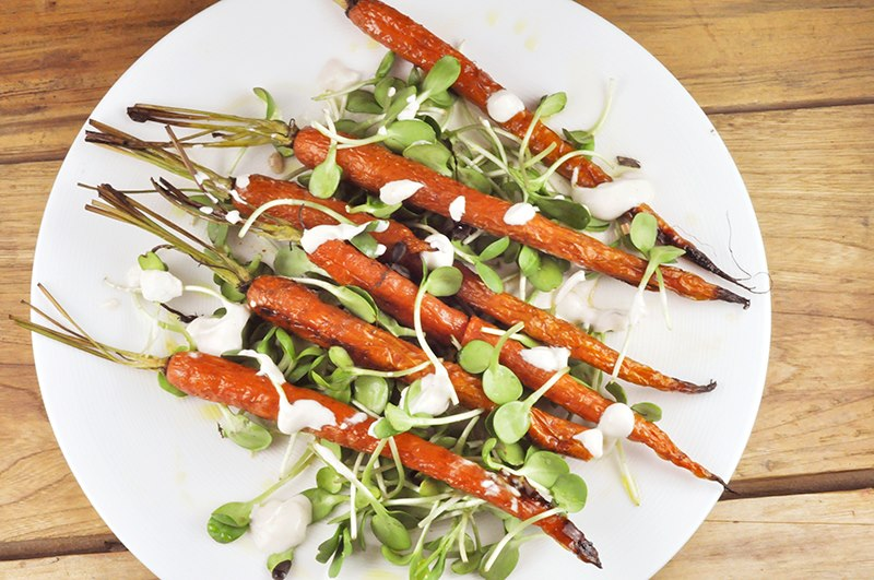 carrot and sunflower sprout salad